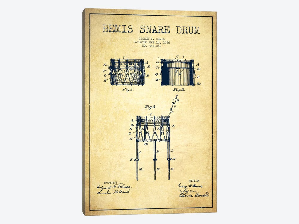 Bemis Drum Vintage Patent Blueprint 1-piece Canvas Artwork