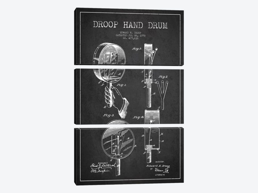 Droop Drum Charcoal Patent Blueprint by Aged Pixel 3-piece Canvas Art Print