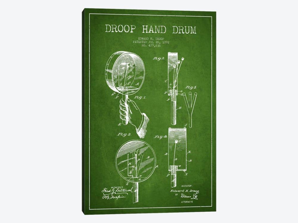 Droop Drum Green Patent Blueprint by Aged Pixel 1-piece Canvas Wall Art