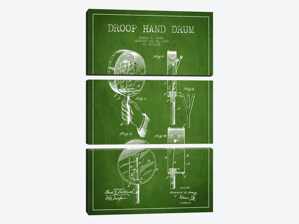 Droop Drum Green Patent Blueprint by Aged Pixel 3-piece Canvas Artwork