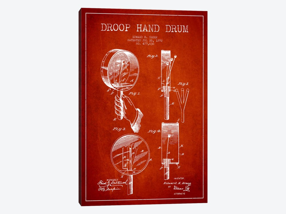 Droop Drum Red Patent Blueprint by Aged Pixel 1-piece Canvas Wall Art