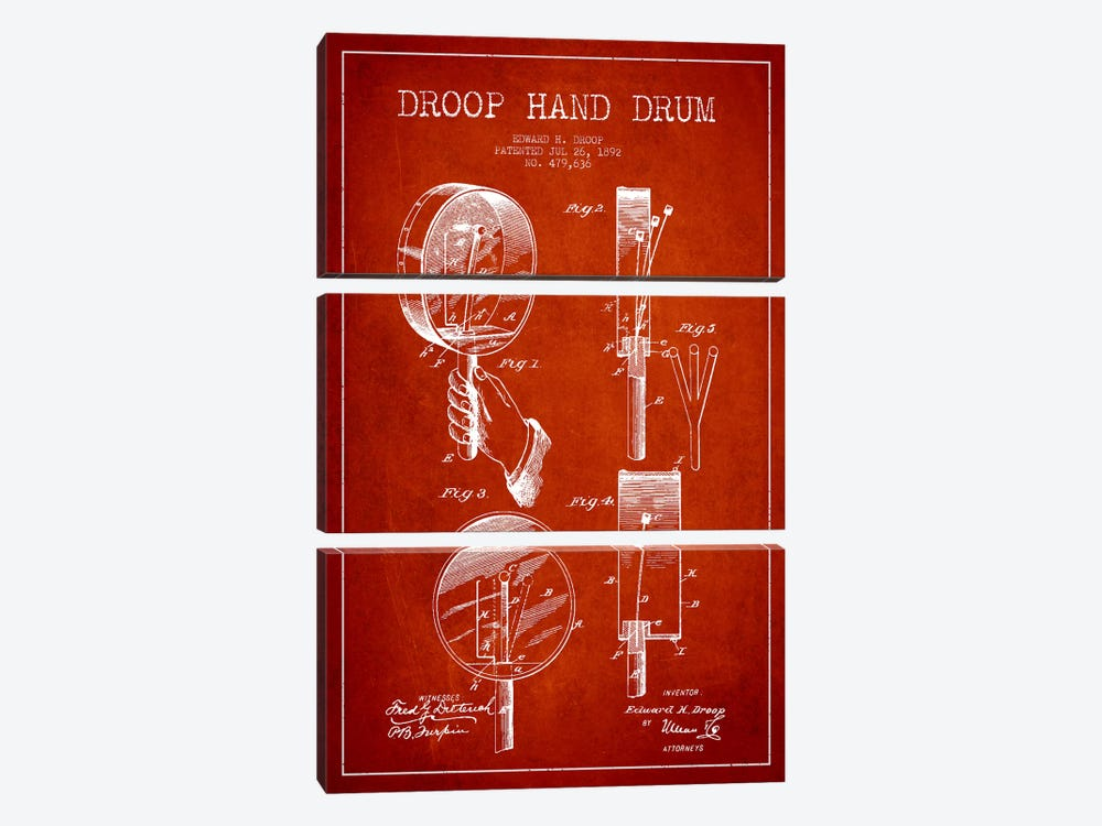 Droop Drum Red Patent Blueprint by Aged Pixel 3-piece Canvas Art