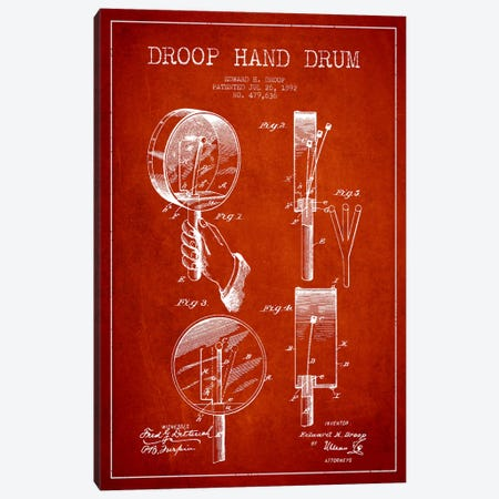 Droop Drum Red Patent Blueprint Canvas Print #ADP1057} by Aged Pixel Canvas Artwork
