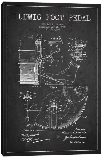 Ludwig Pedal Charcoal Patent Blueprint Canvas Art Print