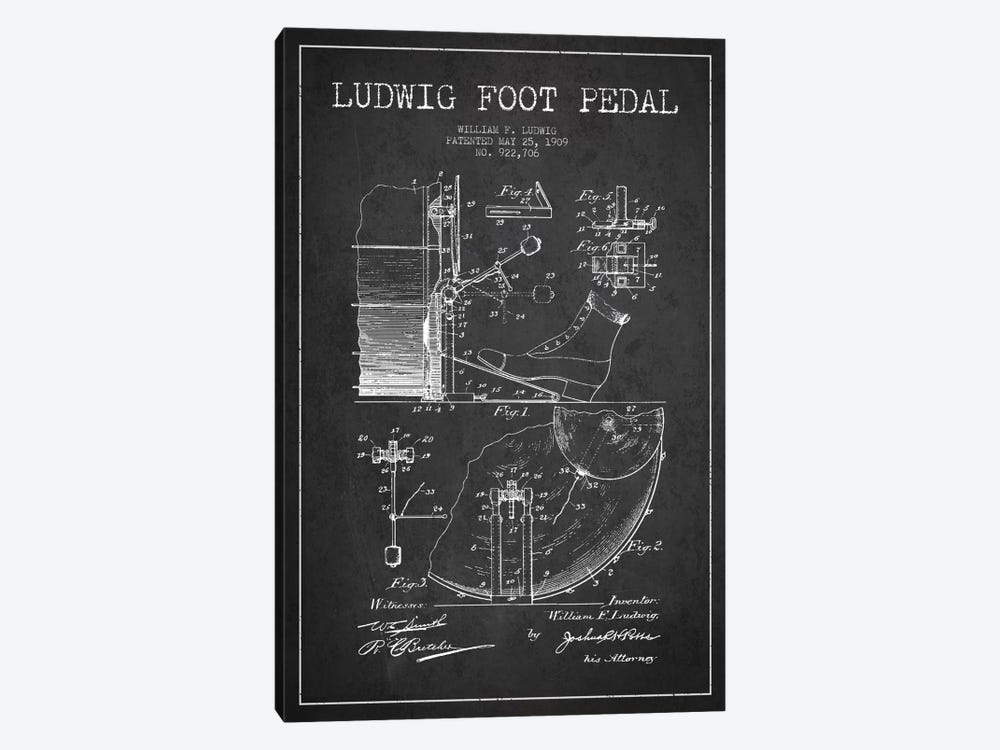 Ludwig Pedal Charcoal Patent Blueprint by Aged Pixel 1-piece Canvas Art