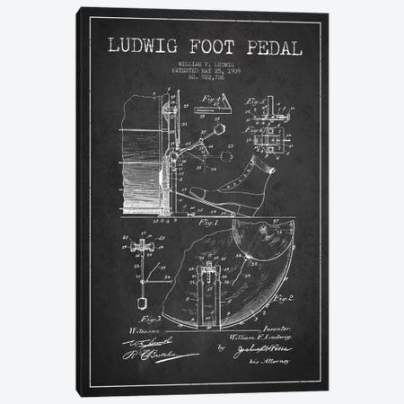 Ludwig Pedal Charcoal Patent Blueprint Canvas Print #ADP1059} by Aged Pixel Art Print