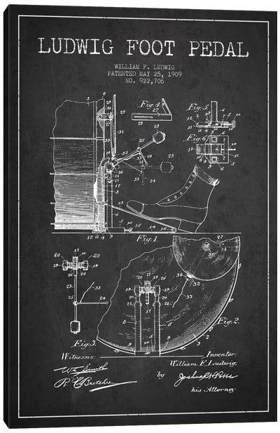 Ludwig Pedal Charcoal Patent Blueprint Canvas Art Print