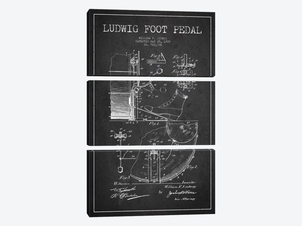 Ludwig Pedal Charcoal Patent Blueprint by Aged Pixel 3-piece Canvas Art