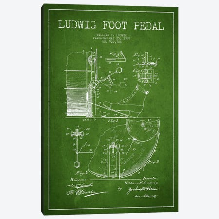 Ludwig Pedal Green Patent Blueprint Canvas Print #ADP1060} by Aged Pixel Canvas Artwork