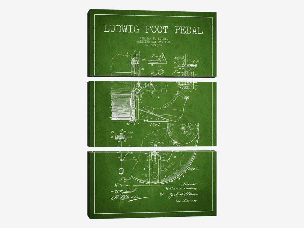 Ludwig Pedal Green Patent Blueprint by Aged Pixel 3-piece Canvas Artwork