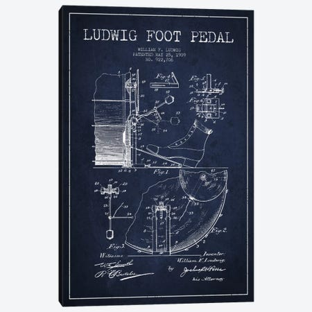 Ludwig Pedal Navy Blue Patent Blueprint Canvas Print #ADP1061} by Aged Pixel Canvas Artwork