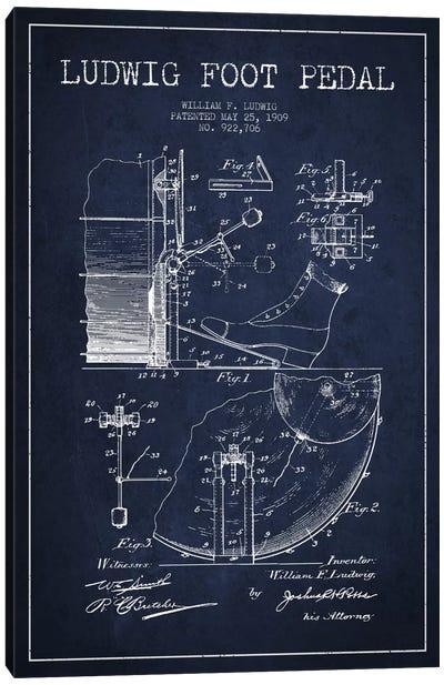 Ludwig Pedal Navy Blue Patent Blueprint Canvas Art Print