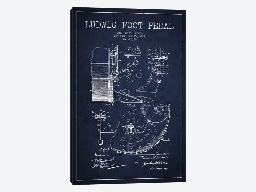Ludwig Pedal Navy Blue Patent Blueprint by Aged Pixel 1-piece Canvas Print