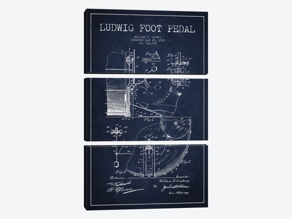 Ludwig Pedal Navy Blue Patent Blueprint by Aged Pixel 3-piece Canvas Print
