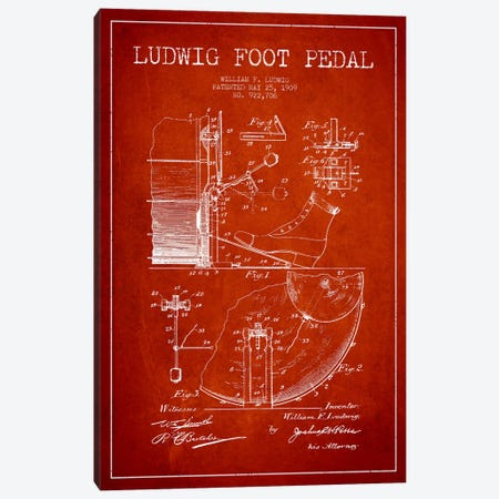Ludwig Pedal Red Patent Blueprint Canvas Print #ADP1062} by Aged Pixel Canvas Artwork
