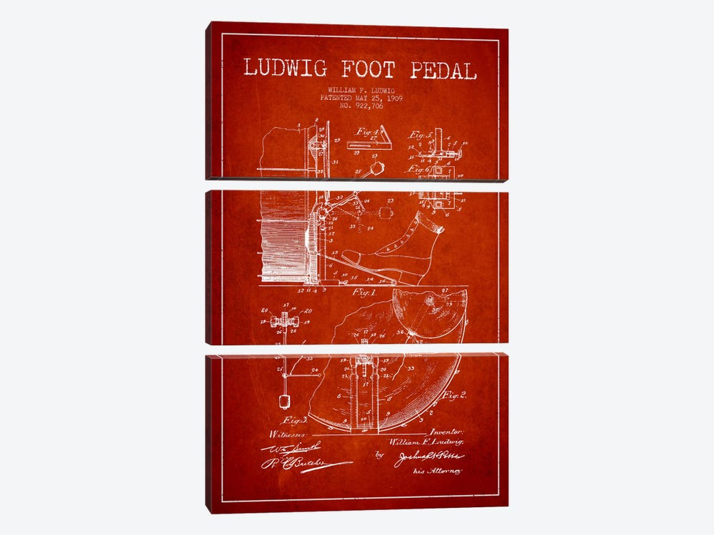Ludwig Pedal Red Patent Blueprint by Aged Pixel 3-piece Canvas Art