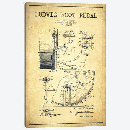 Ludwig Pedal Vintage Patent Blueprint Canvas Print #ADP1063} by Aged Pixel Canvas Wall Art