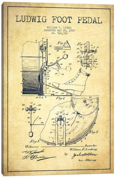Ludwig Pedal Vintage Patent Blueprint Canvas Art Print