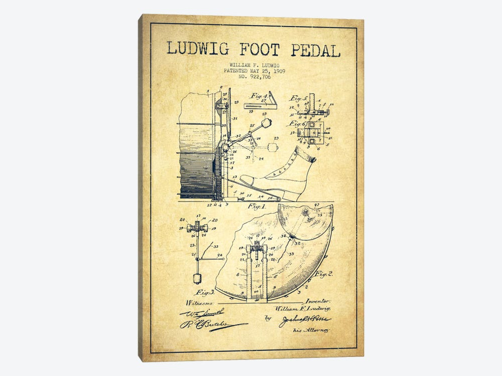 Ludwig Pedal Vintage Patent Blueprint by Aged Pixel 1-piece Canvas Print