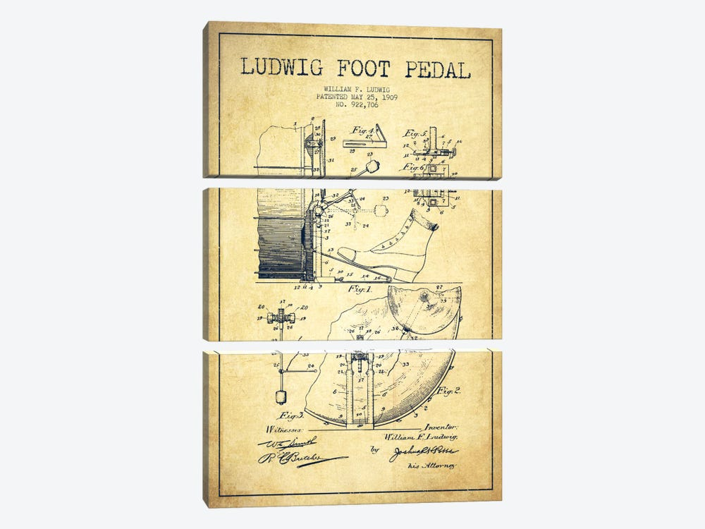 Ludwig Pedal Vintage Patent Blueprint by Aged Pixel 3-piece Art Print