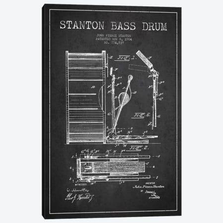 Stanton Bass Charcoal Patent Blueprint Canvas Print #ADP1064} by Aged Pixel Art Print