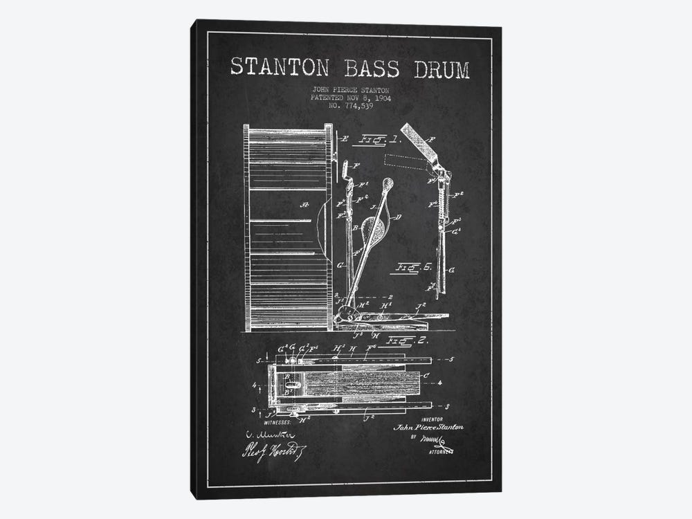 Stanton Bass Charcoal Patent Blueprint by Aged Pixel 1-piece Canvas Art