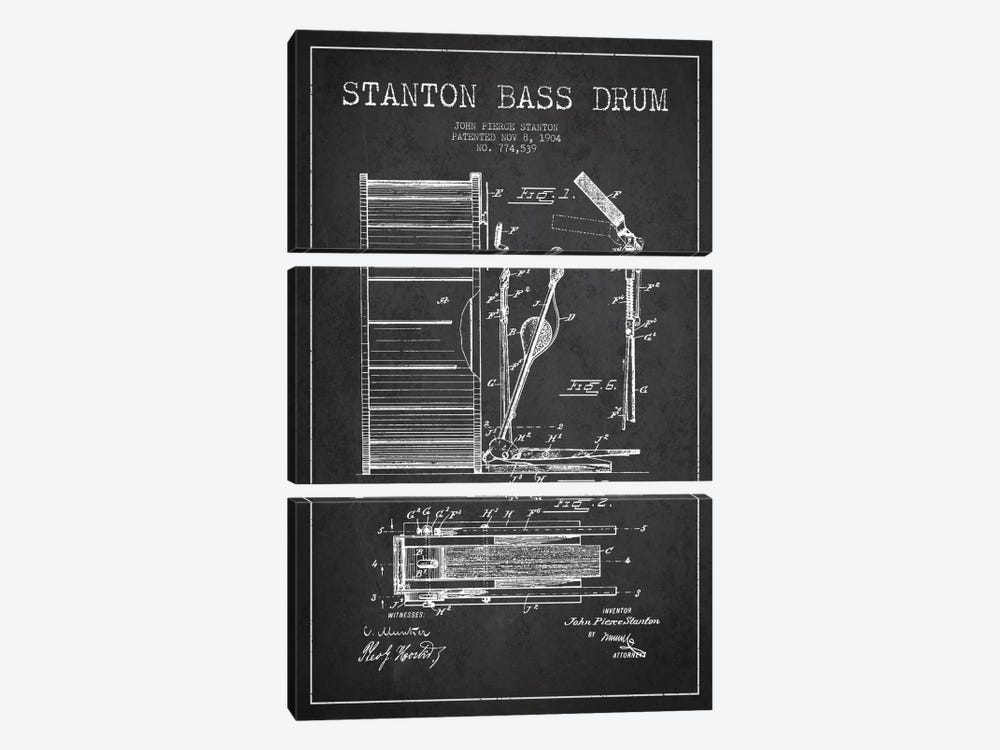 Stanton Bass Charcoal Patent Blueprint by Aged Pixel 3-piece Canvas Wall Art
