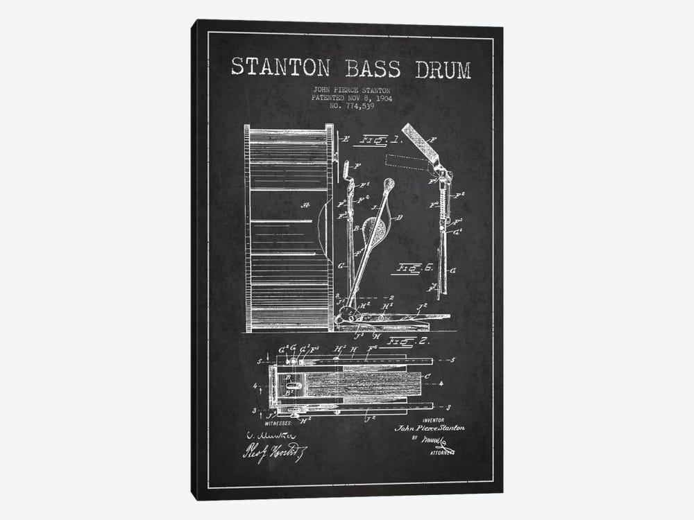 Stanton Bass Charcoal Patent Blueprint by Aged Pixel 1-piece Canvas Art