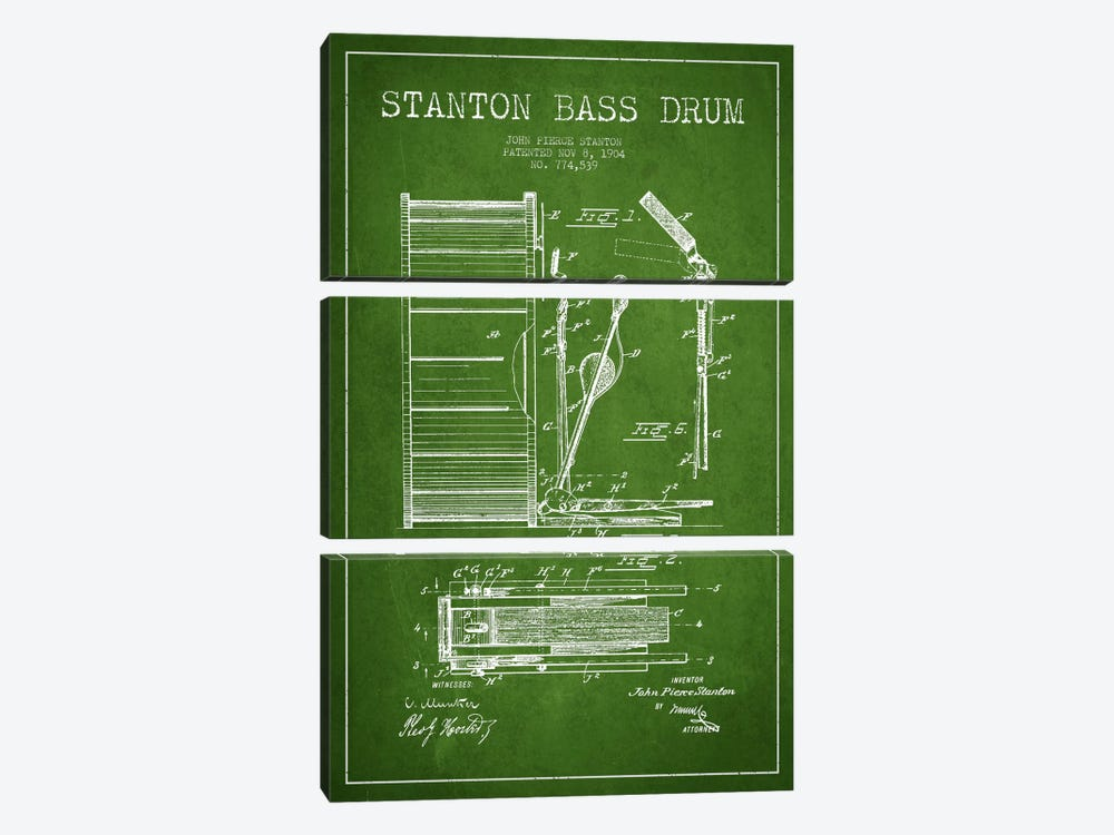 Stanton Bass Green Patent Blueprint by Aged Pixel 3-piece Canvas Print