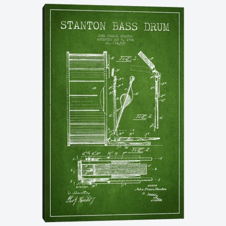 Stanton Bass Green Patent Blueprint Canvas Print #ADP1065} by Aged Pixel Canvas Print