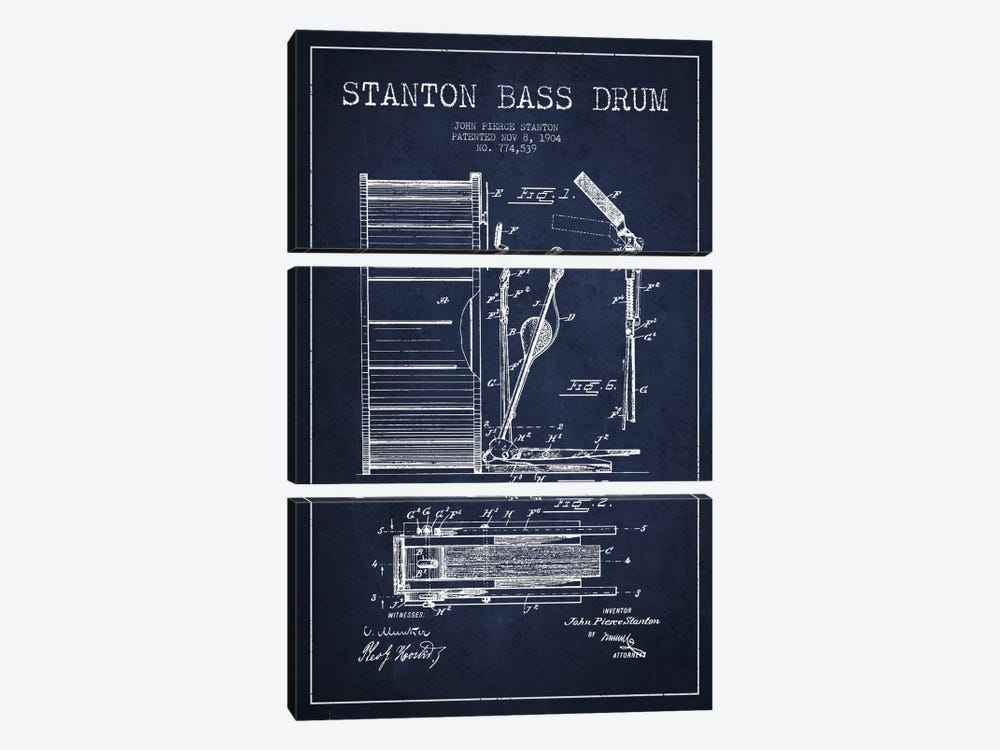 Stanton Bass Navy Blue Patent Blueprint by Aged Pixel 3-piece Canvas Wall Art