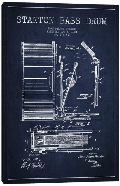 Stanton Bass Navy Blue Patent Blueprint Canvas Art Print