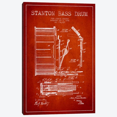 Stanton Bass Red Patent Blueprint Canvas Print #ADP1067} by Aged Pixel Canvas Print