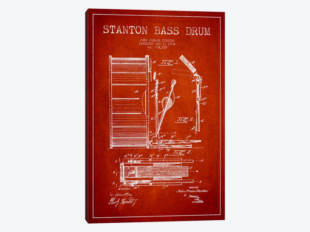 Stanton Bass Red Patent Blueprint by Aged Pixel 1-piece Canvas Art Print