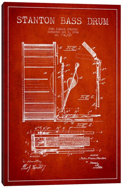 Stanton Bass Red Patent Blueprint Canvas Art Print