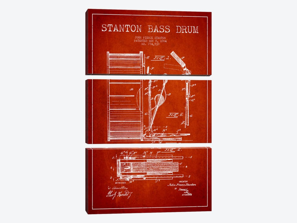 Stanton Bass Red Patent Blueprint by Aged Pixel 3-piece Canvas Print