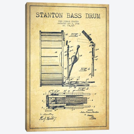 Stanton Bass Vintage Patent Blueprint Canvas Print #ADP1068} by Aged Pixel Canvas Artwork