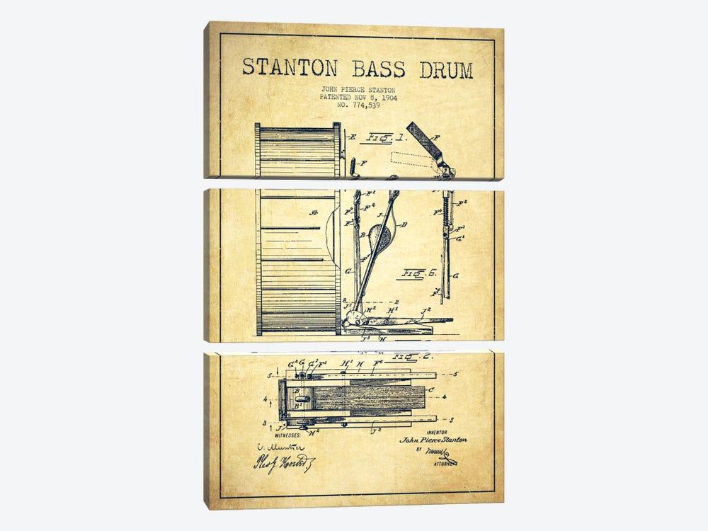 Stanton Bass Vintage Patent Blueprint by Aged Pixel 3-piece Canvas Art