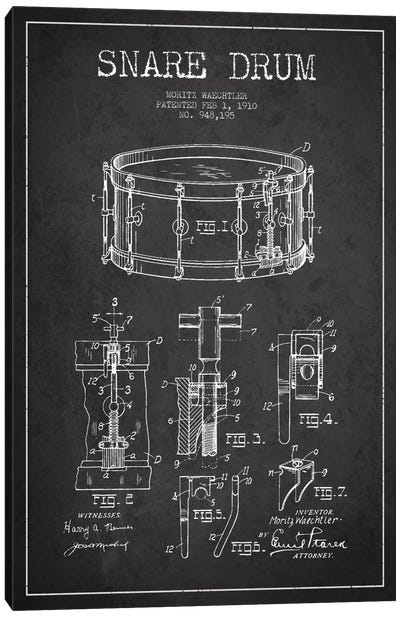 Waechtler Snare Charcoal Patent Blueprint Canvas Art Print