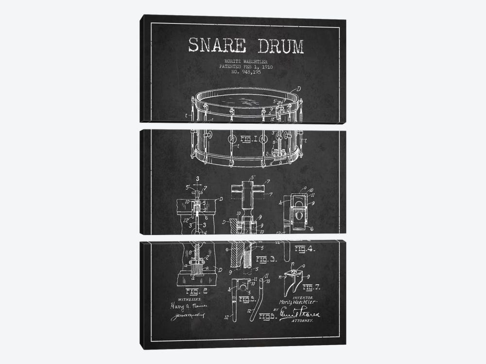 Waechtler Snare Charcoal Patent Blueprint 3-piece Canvas Art Print