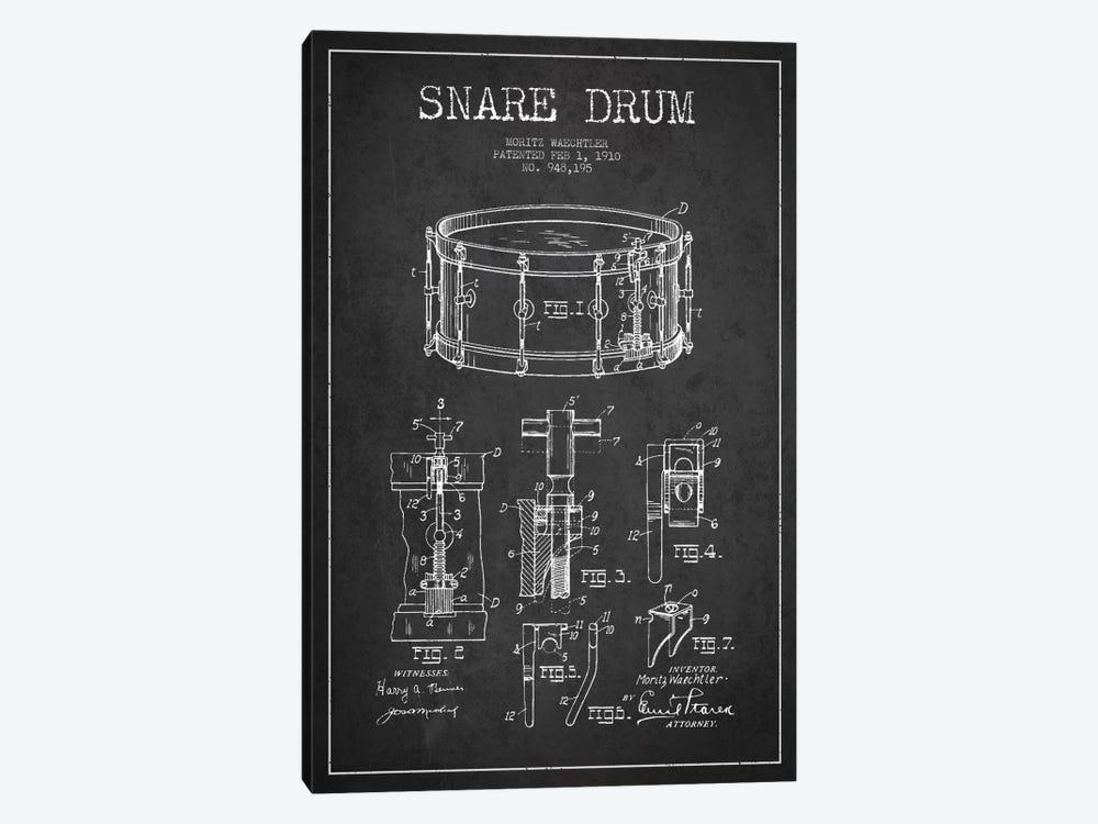 Waechtler Snare Charcoal Patent Blueprint by Aged Pixel 1-piece Canvas Print