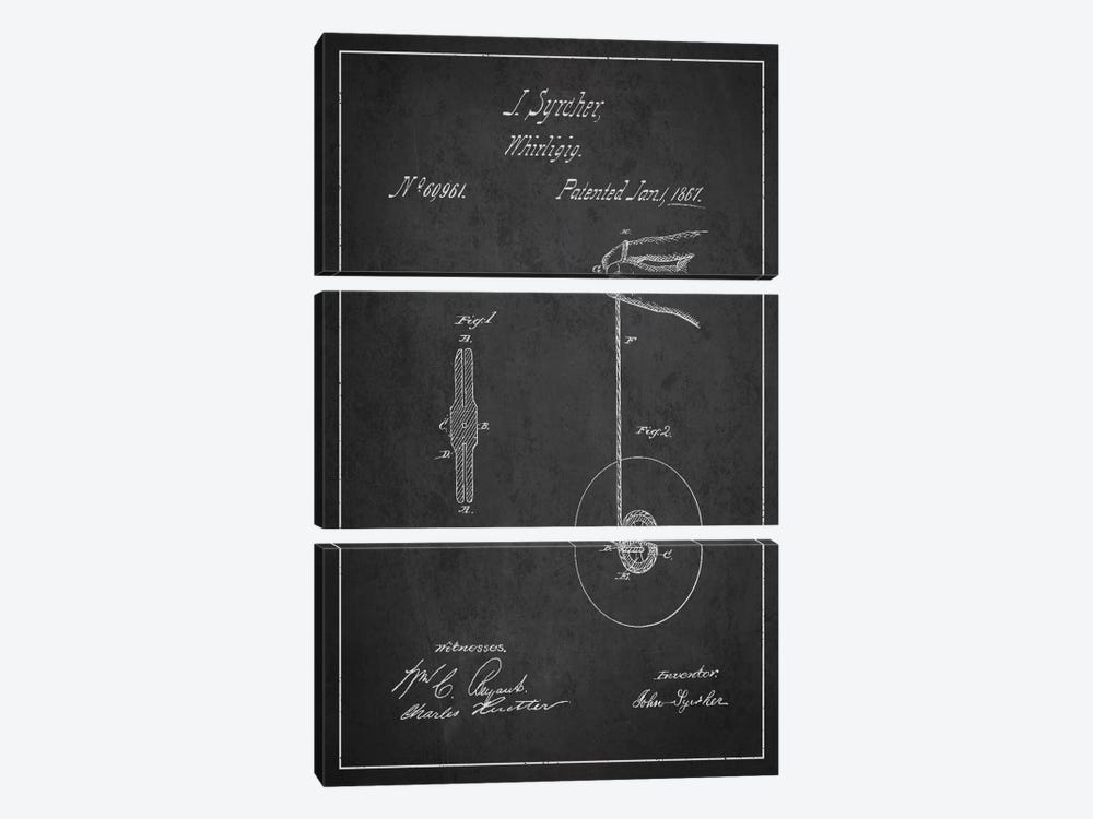 Yoyo Dark Patent Blueprint by Aged Pixel 3-piece Canvas Wall Art