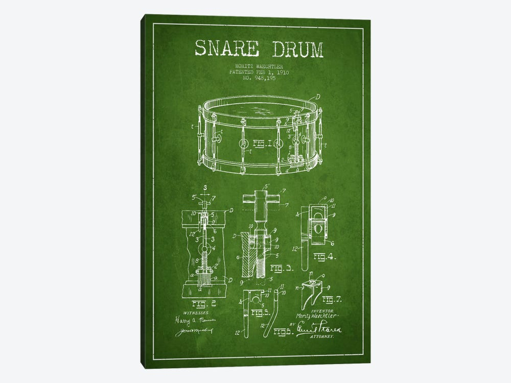 Waechtler Snare Green Patent Blueprint by Aged Pixel 1-piece Art Print