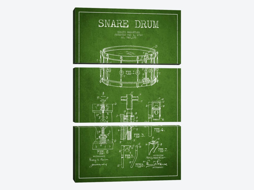 Waechtler Snare Green Patent Blueprint by Aged Pixel 3-piece Art Print