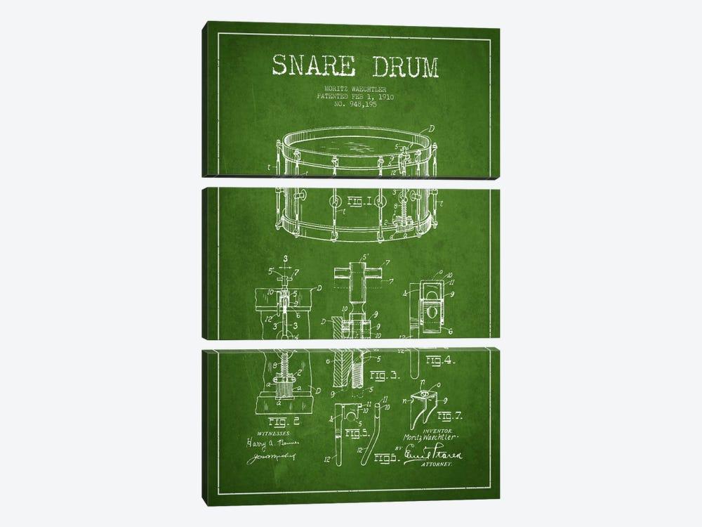 Waechtler Snare Green Patent Blueprint by Aged Pixel 3-piece Art Print