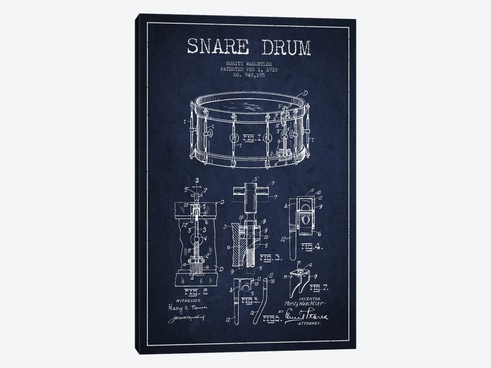 Waechtler Snare Navy Blue Patent Blueprint by Aged Pixel 1-piece Canvas Wall Art