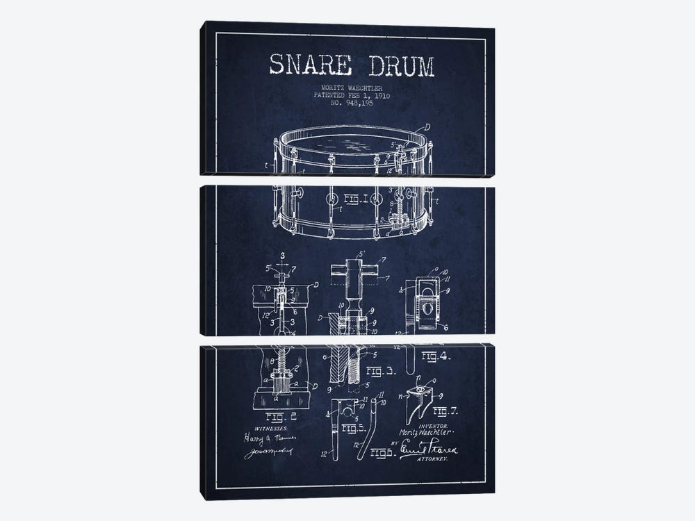 Waechtler Snare Navy Blue Patent Blueprint by Aged Pixel 3-piece Canvas Wall Art