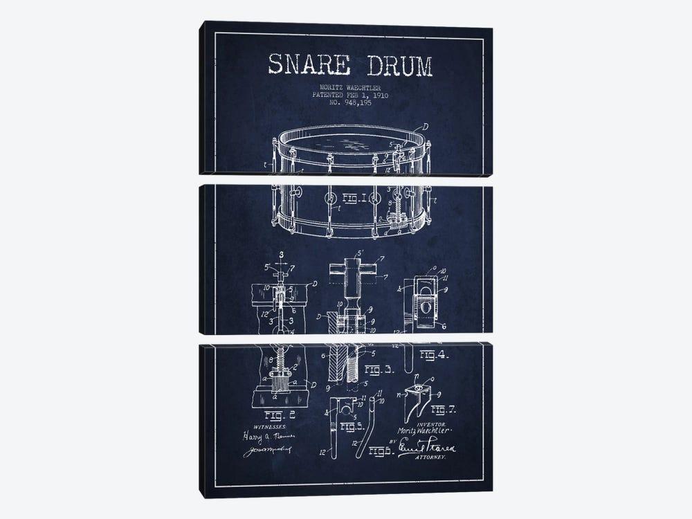 Waechtler Snare Navy Blue Patent Blueprint by Aged Pixel 3-piece Canvas Wall Art