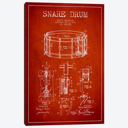 Waechtler Snare Red Patent Blueprint Canvas Print #ADP1072} by Aged Pixel Canvas Art Print