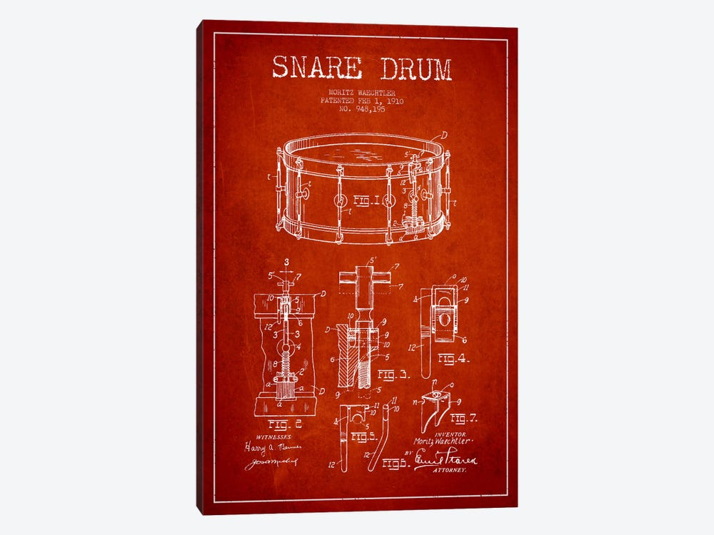Waechtler Snare Red Patent Blueprint by Aged Pixel 1-piece Art Print